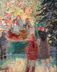 1960'S FRENCH IMPRESSIONIST OIL PAINTING SHOPPING IN PARIS