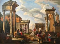 Enormous Italian Classical Roman Ruins Grand Tour Oil Painting