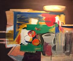 Massive 1990s Greek Signed Oil Painting Abstract Still Life