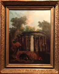 Fine French Oil Painting Figures before Roman Classical Buildings