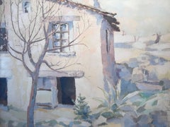 1960's French Oil Painting Provencal Farm House Signed Oil Painting