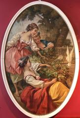 Large Oval French Oil Painting Ladies with Doves