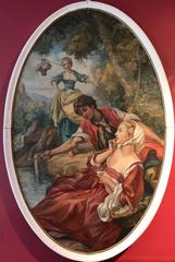 Large Oval French Rococo Style Oil Painting Young Courtship