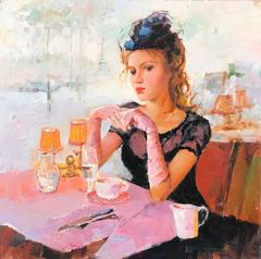 French Impressionist Oil Painting Young Beauty Paris Cafe Pink Gloves