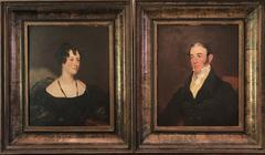 Fine Pair Original Georgian Portrait Oil Paintings Husband & Wife