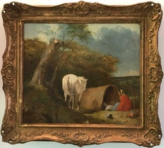 The Gypsy Encampment Signed Original Victorian Oil Painting