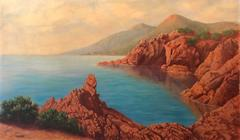 Original French Impressionist Oil Painting Esterel Cote d'Azur coastline