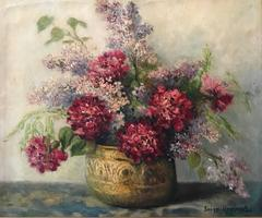 Lilac's and Peonies Original French Impressionist Signed Oil Painting
