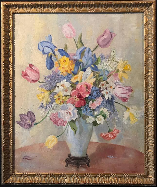 Unknown Still Life Flowers In Vase Original Signed Oil Painting