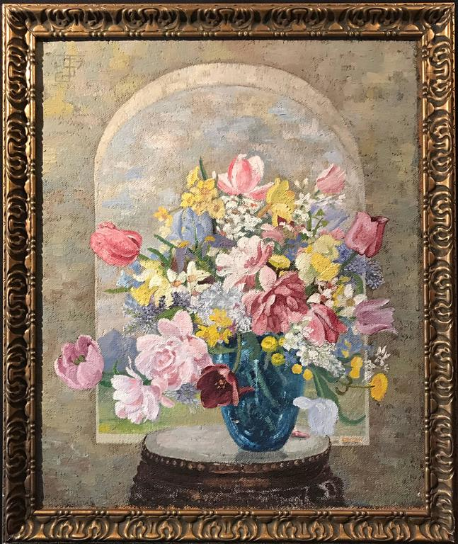Unknown Oil Painting Flower Vase Painting For Sale At 1stdibs
