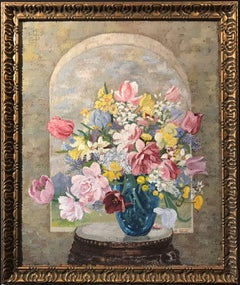 Flowers within Arched Windowsill Original British Painting