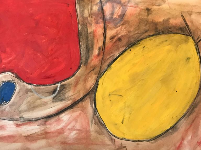 Original 1960's British Abstract Painting Reds and Yellows