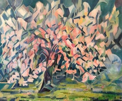 Arbre en Fleurs Signed French Cubist Oil Painting Blossom Tree