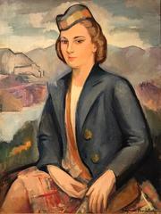 Large Post-Impressionist Oil Portrait of Scottish Lady in Highlands
