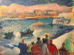 French Fauvist Oil Painting Figures by the Harbour