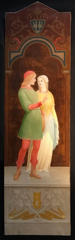 Renaissance Couple Very Large Original French Oil Painting