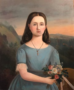 Mid 19th Century French Oil Painting Young Girl with Flowers