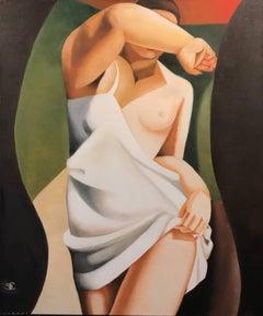 Art Deco Cubist Oil Painting Semi Nude Lady