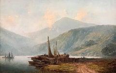 Loch Lomond Fishing Boats 19th Century Oil Painting