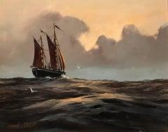 Sailing Boat at Sunset original Oil Painting