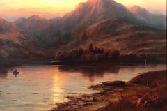Sunset over the Loch, Victorian oil painting