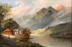 Antique Scottish Oil Painting Highland Loch
