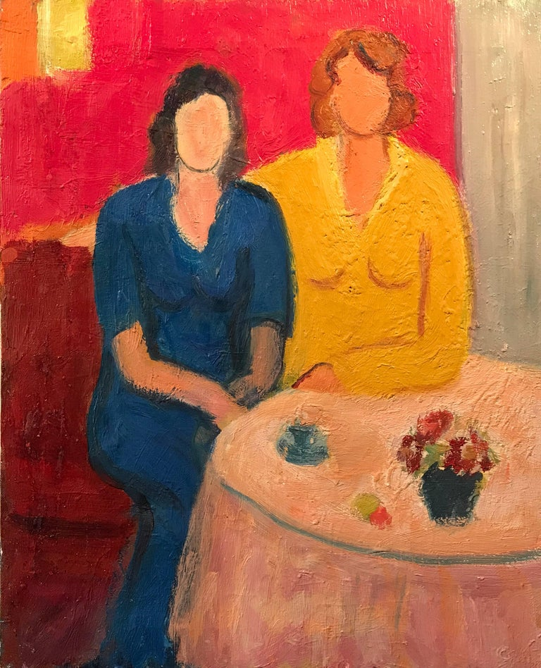 (after) Henri Matisse Portrait Painting - Vintage French Oil Painting Ladies at Cafe Table