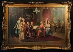 Rococo Musical Recital Interior Oil Painting
