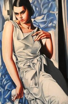 Art Deco Portrait Young Lady Oil Painting