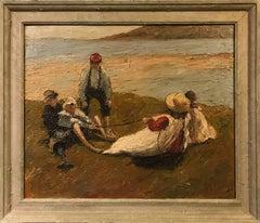 1900's Impressionist Oil Children Playing on Beach
