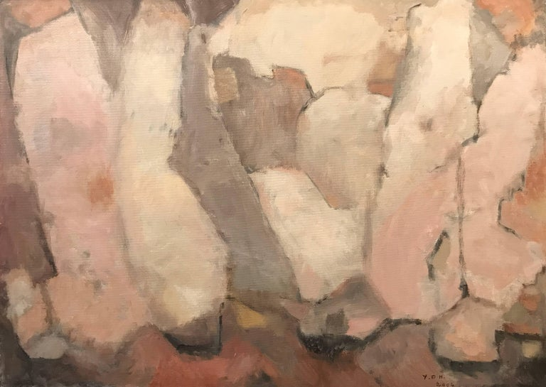 Subtle Pastel Shades of Pink & Ochre French Abstract Oil Painting
