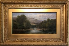 Victorian Oil Painting Welsh River Landscape