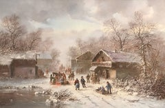 Dutch Winter Village Snow Scene Sledging Many Figures Signed Oil