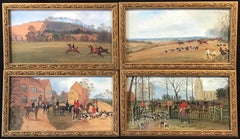 Set of 4 Victorian Hunting Scene Oil Paintings
