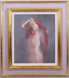 Nude Lady drying after bath Impressionist oil painting