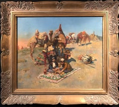Bedouin Travellers on Camels in Desert oil painting