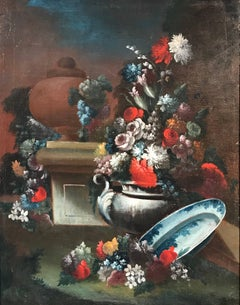 18th Century French Still Life with Urn, Flowers & Foliage