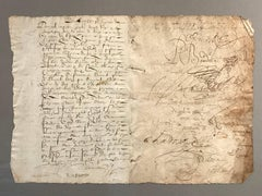 16th Century Framed French Hand Written Document