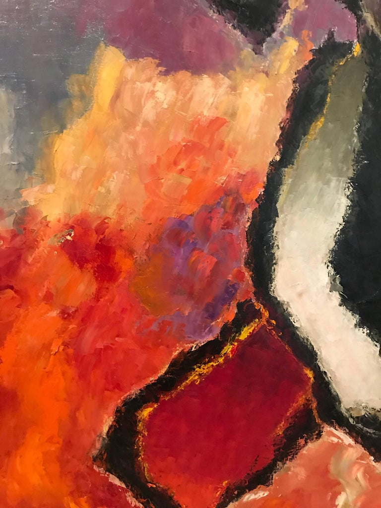 Large French Abstract Oil Painting Autumnal Colors For Sale 2