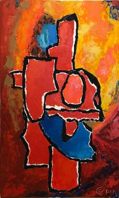 French Abstract Expressionist Oil Painting Bright Colors