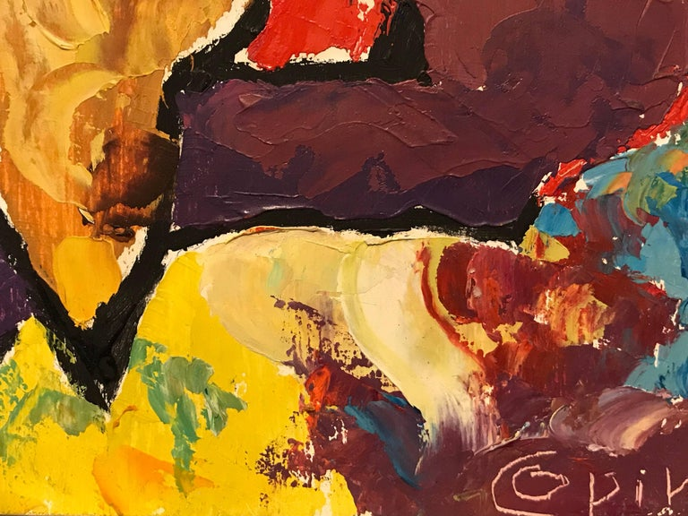 Warm Soft Colors French Expressionist Abstract Oil Painting For Sale 1