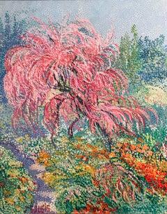 La Jardin de Claude Monet, Giverny, Pointillist Oil Painting