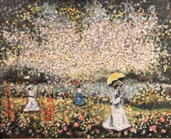 French Pointillist Signed Oil Elegant Ladies with Parasols