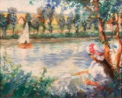 French Impressionist Oil Girl by a River Signed Oil