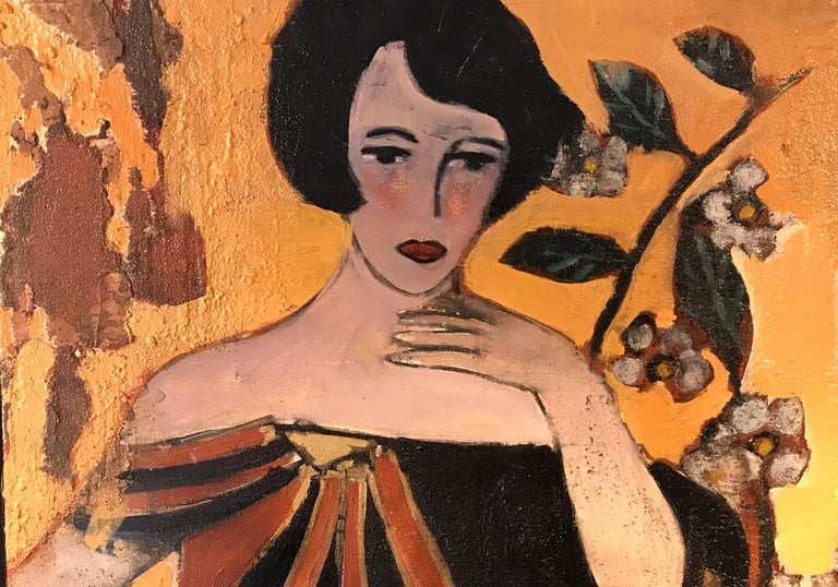 Veyr fine large scale French oil painting with gold leaf, on canvas. The work is painted in the Art Deco style and captures this enigmatic lady standing in a fantasy setting.   The painting bears influence from the earlier Austrian painter, Gustave