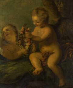 18th Century French Old Master Putti with Floral Tribute