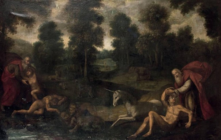 Flemish school the creation of adam and eve 17th for Creation of adam mural