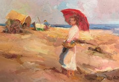 French Impressionist Oil - Lady on Beach