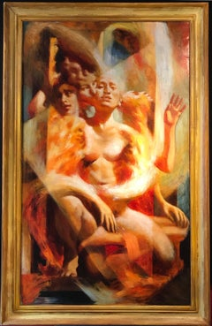 Huge Surrealist Haunting Oil Nude Lady