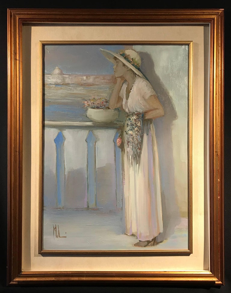 Innocenzo Melani Figurative Painting - Lady on Venetian Balcony Signed Impressionist Oil Painting